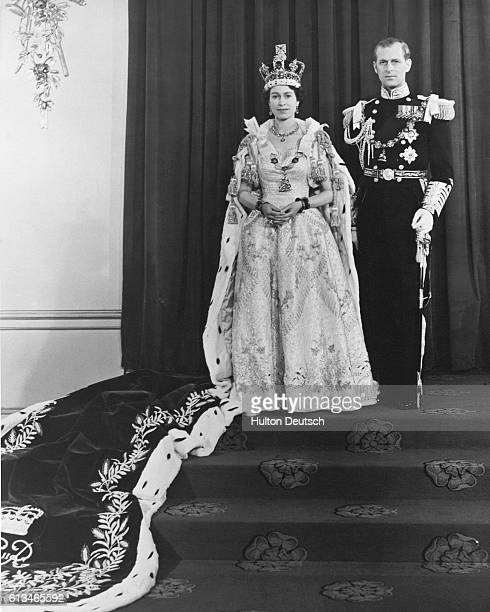 Queen Elizabeth II and Prince Phillip on Coronation Day 1953.