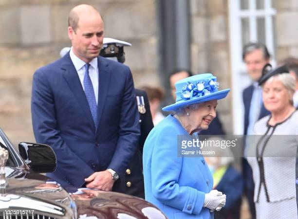 Queen Elizabeth II and Prince William, Duke of Cambridge attend the Ceremony of the Keys at the Palace of Holyroodhouse on June 28, 2021 in...