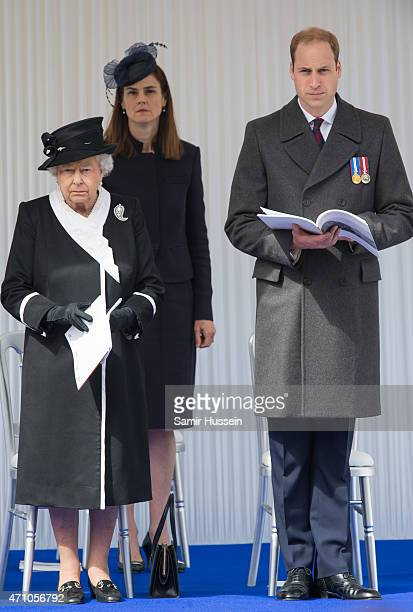 Queen Elizabeth II and Prince William, Duke of Cambridge attends the wreath-laying ceremony at the Cenotaph to commemorate ANZAC Day and the...