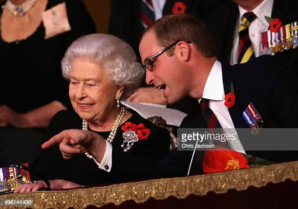 Queen Elizabeth II and Prince William Duke of Cambridge chat to each other in the Royal Box at the Royal Albert Hall during the Annual Festival of...