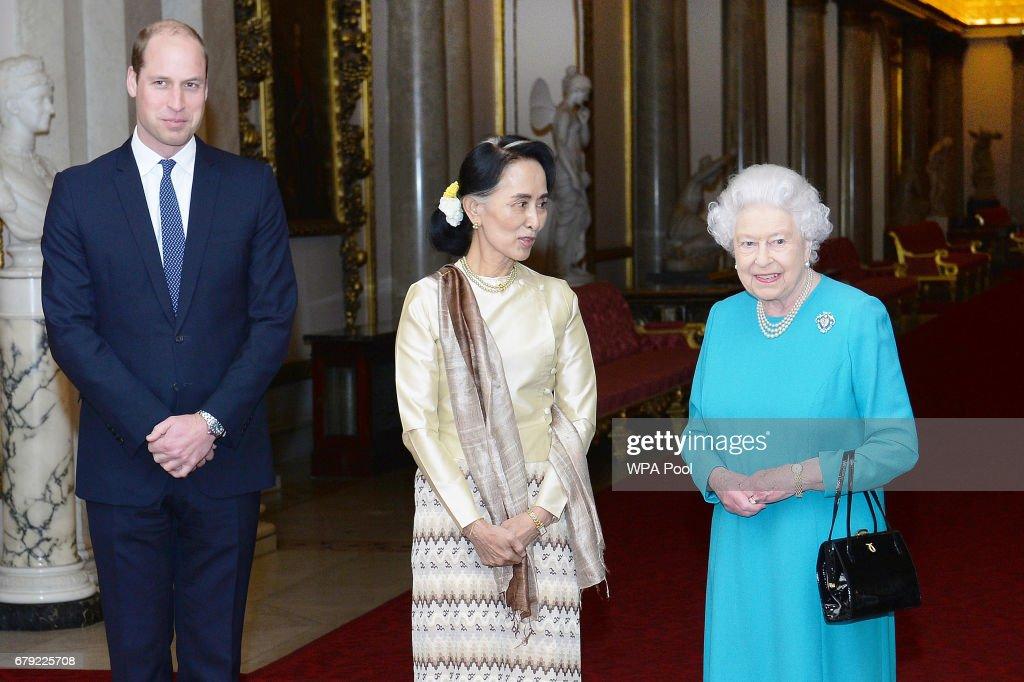Aung San Suu Kyi Meets British Royals : News Photo