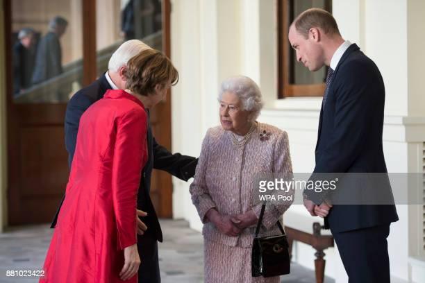 Queen Elizabeth II and Prince William Duke of Cambridge greet the President of Germany FrankWalter Steinmeier and his wife Elke Budenbender outside...