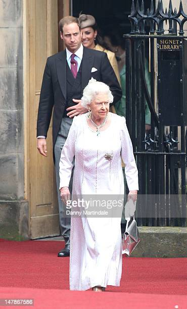 Queen Elizabeth II and Prince William; Duke of Cambridge leaves St Giles Cathederal after the Thistle Ceremony on July 5, 2012 in Edinburgh,...