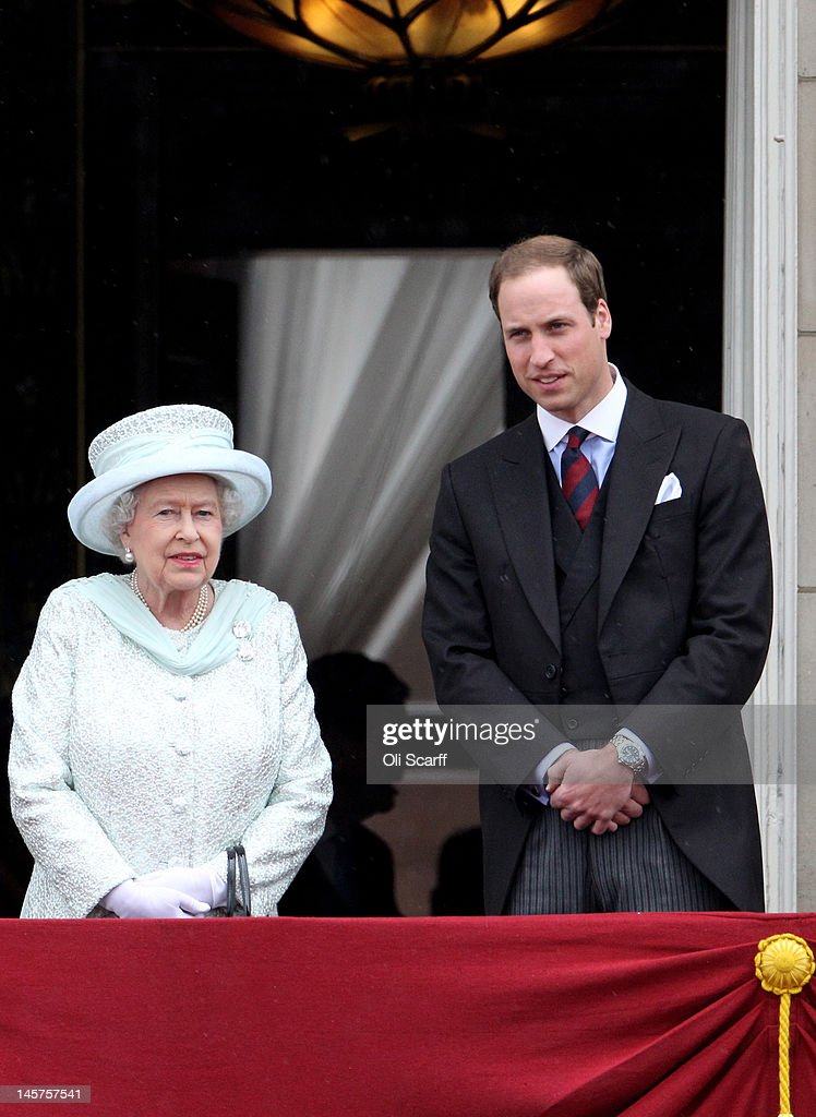 Queen Elizabeth II and Prince William, Duke of Cambridge on the balcony of Buckingham Palace after the service of thanksgiving at St.Paul's Cathedral on June 5, 2012 in London, England. For only the second time in its history the UK celebrates the Diamond Jubilee of a monarch. Her Majesty Queen Elizabeth II celebrates the 60th anniversary of her ascension to the throne. Thousands of wellwishers from around the world have flocked to London to witness the spectacle of the weekend's celebrations.