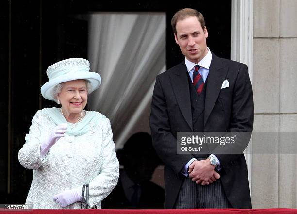 Queen Elizabeth II and Prince William Duke of Cambridge on the balcony of Buckingham Palace after the service of thanksgiving at StPaul's Cathedral...