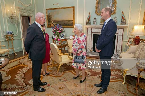 Queen Elizabeth II and Prince William Duke of Cambridge receive the GovernorGeneral designate of Australia General the Honourable David Hurley during...