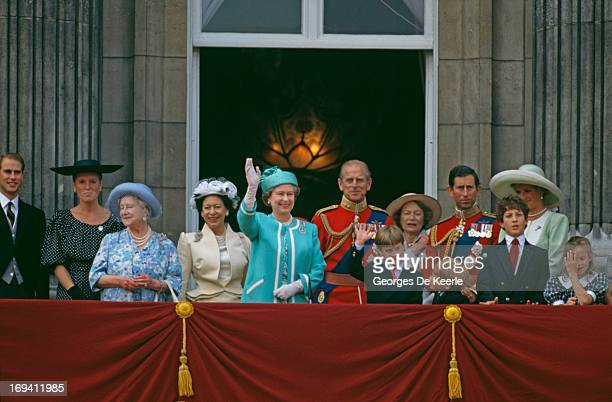 Queen Elizabeth II and Prince William waving from the balcony of Buckingham Palace during the Trooping The Colour Ceremony, The Queen's Official...