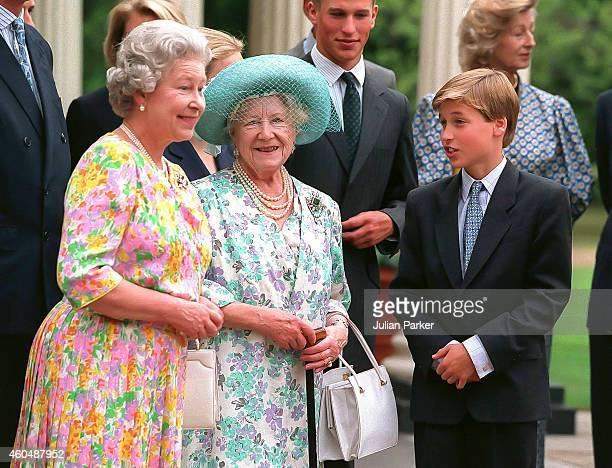 Queen Elizabeth II and Prince William with Queen Elizabeth The Queen Mother at Clarence House to Celebrate her 94th Birthday on August 4 1994 in...