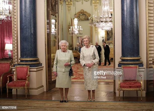 Queen Elizabeth II and Princess Alexandra are seen during a reception to celebrate the patronages of the Princess, in the year of her 80th birthday...