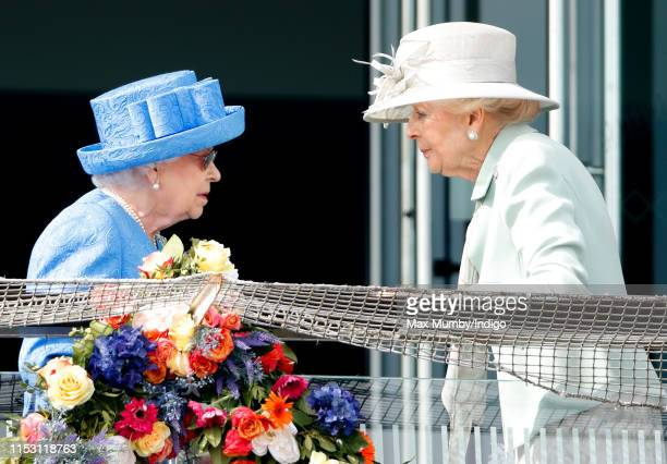 Queen Elizabeth II and Princess Alexandra attend 'Derby Day' of the Investec Derby Festival at Epsom Racecourse on June 1, 2019 in Epsom, England.