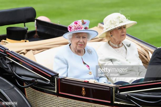 Queen Elizabeth II and Princess Alexandra, The Honourable Lady Ogilvy arrive in the royal procession on day 2 of Royal Ascot at Ascot Racecourse on...