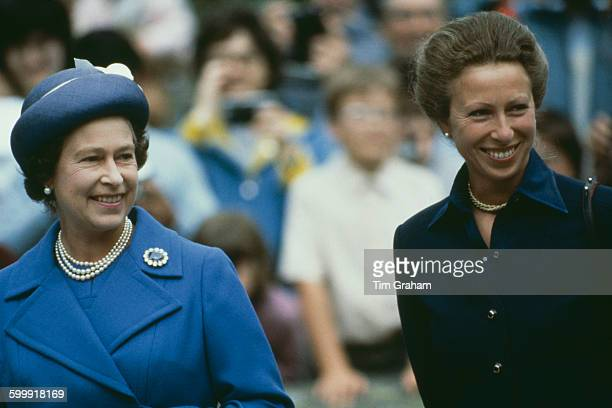 Queen Elizabeth II and Princess Anne at Balmoral, Scotland, 14th August 1983.