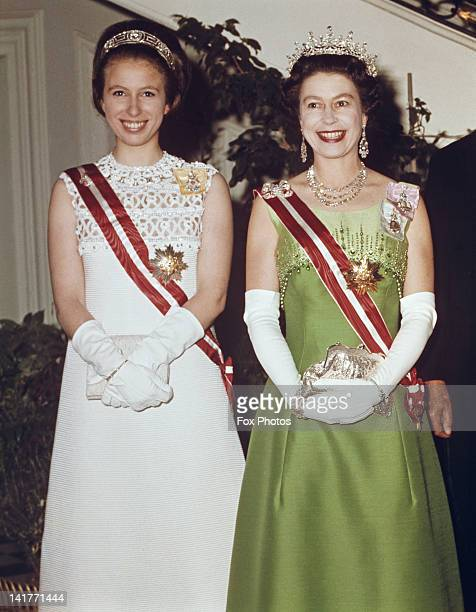 Queen Elizabeth II and Princess Anne attend a function at the Hotel Imperial in Vienna, during a State Visit to Austria, 7th May 1969.