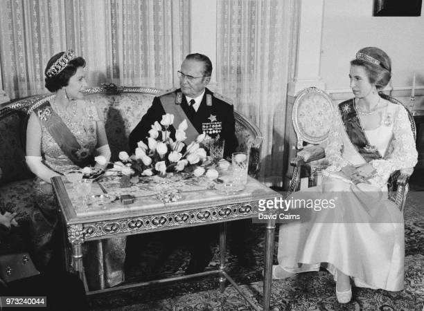 Queen Elizabeth II and Princess Anne attend a meeting with Yugoslav political leader Josip Broz Tito in the occasion of a State Banquet at Beli Dvor...