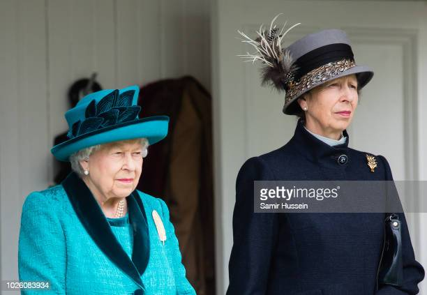 Queen Elizabeth II and Princess Anne, Princes Royal attend the 2018 Braemar Highland Gathering at The Princess Royal and Duke of Fife Memorial Park...