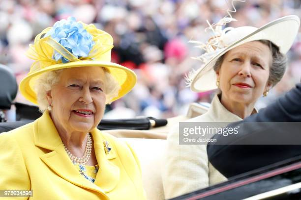 Queen Elizabeth II and Princess Anne, Princess Royal arrive by carriage to Royal Ascot Day 1 at Ascot Racecourse on June 19, 2018 in Ascot, United...