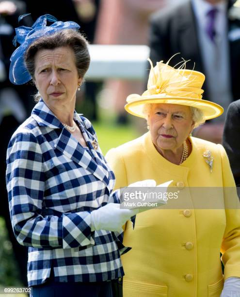 Queen Elizabeth II and Princess Anne, Princess Royal attend Royal Ascot 2017 at Ascot Racecourse on June 21, 2017 in Ascot, England.