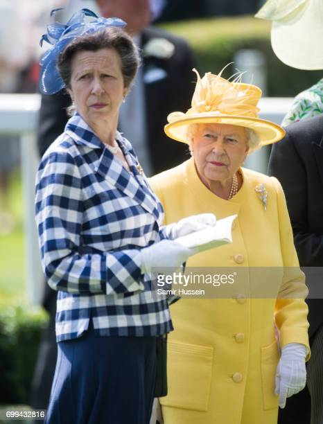Queen Elizabeth II and Princess Anne Princess Royal attend Royal Ascot 2017 at Ascot Racecourse on June 21 2017 in Ascot England