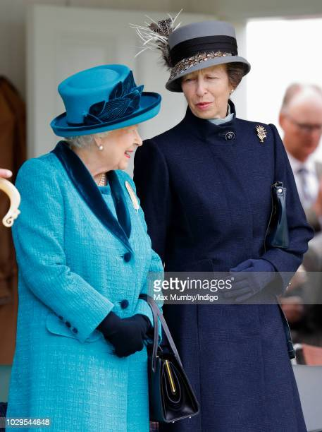 Queen Elizabeth II and Princess Anne Princess Royal attend the 2018 Braemar Highland Gathering at The Princess Royal and Duke of Fife Memorial Park...