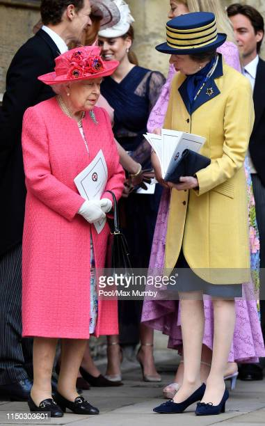 Queen Elizabeth II and Princess Anne, Princess Royal attend the wedding of Lady Gabriella Windsor and Thomas Kingston at St George's Chapel on May...
