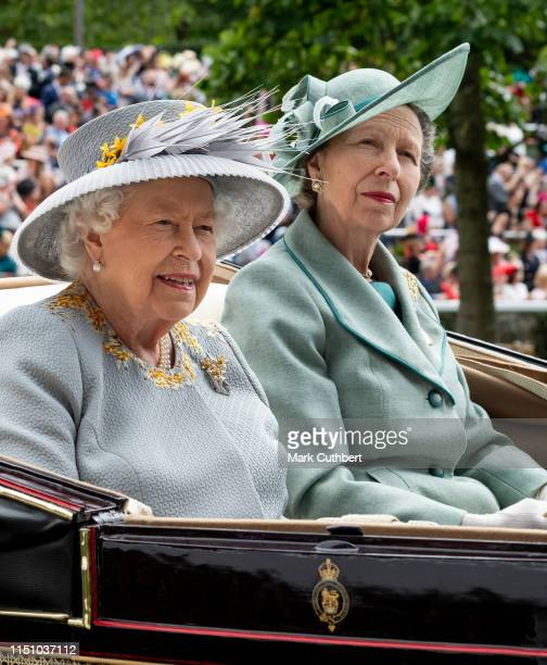 Queen Elizabeth II and Princess Anne Princess Royal on day three Ladies Day of Royal Ascot at Ascot Racecourse on June 20 2019 in Ascot England