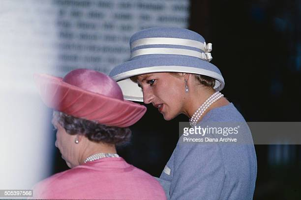 Queen Elizabeth II and Princess Diana attending the wedding of Viscount Linley and Serena Stanhope at the Church of St Margaret in the grounds of...