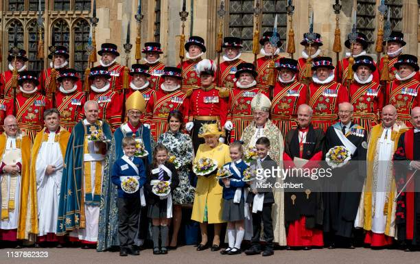 Queen Elizabeth II and Princess Eugenie attend the traditional Royal Maundy Service at St George's Chapel on April 18 2019 in Windsor England