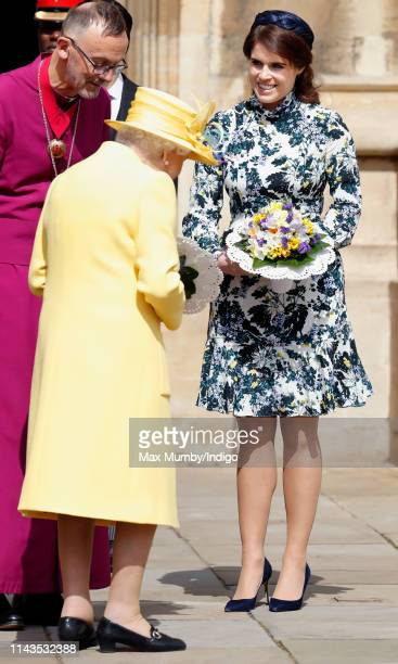 Queen Elizabeth II and Princess Eugenie attend the traditional Royal Maundy Service at St George's Chapel on April 18 2019 in Windsor England During...