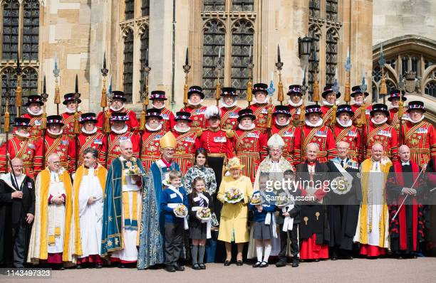 Queen Elizabeth II and Princess Eugenie of York attend the traditional Royal Maundy Service at St George's Chapel on April 18 2019 in Windsor England