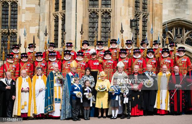 Queen Elizabeth II and Princess Eugenie of York attends the traditional Royal Maundy Service at St George's Chapel on April 18 2019 in Windsor England