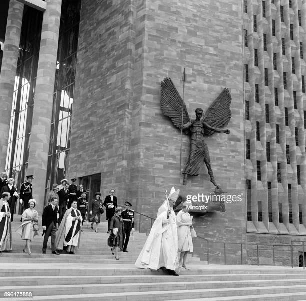 Queen Elizabeth II and Princess Margaret attend the consecration of the new Coventry Cathedral 25th May 1962