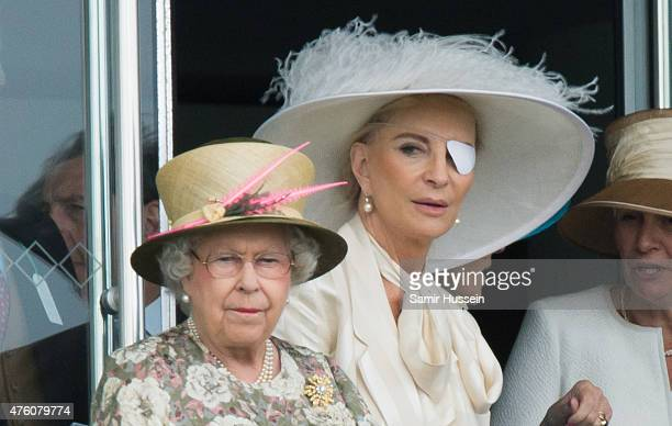 Queen Elizabeth II and Princess Michael of Kent attend the Epsom Derby at Epsom Racecourse on June 6 2015 in Epsom England