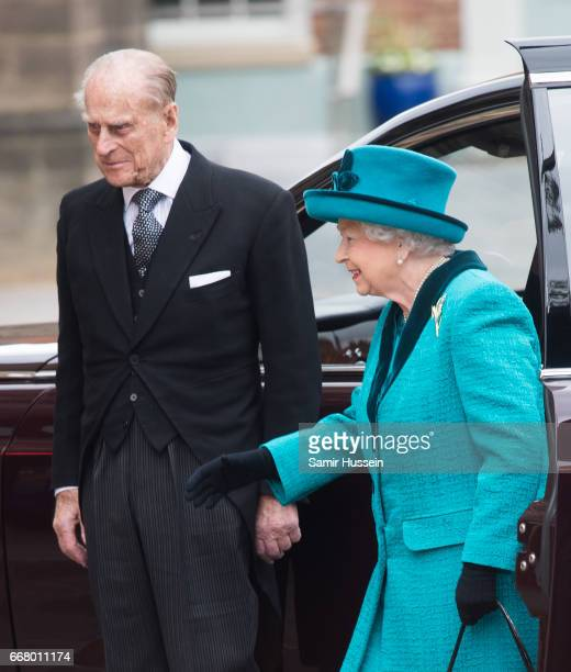 Queen Elizabeth II and Prine Philip Duke of Edinburgh attend the Royal Maundy service at Leicester Cathedral on April 13 2017 in Leicester England...