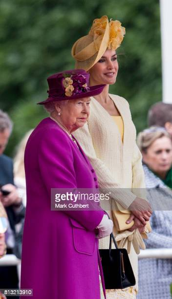 Queen Elizabeth II and Queen Letizia of Spain at the official welcome ceremony on Horseguards Parade during a State visit by the King and Queen of...