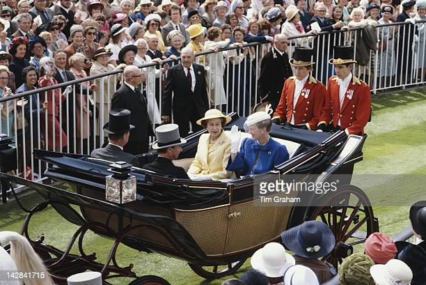 Queen Elizabeth II and Queen Margrethe II of Denmark arrive at Ascot with Grand Duke Jean of Luxembourg and Prince Philip, June 1980.
