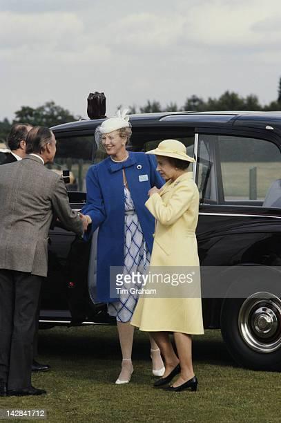 Queen Elizabeth II and Queen Margrethe II of Denmark arrive at Windsor Polo Club Windsor June 1980