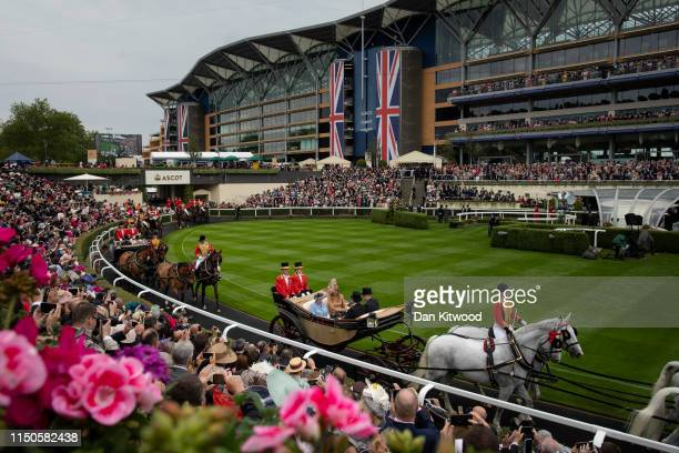 Queen Elizabeth II and Queen Maxima of the Netherlands arrive for the first day of races at Ascot Racecourse on June 18 2019 in Ascot England The...
