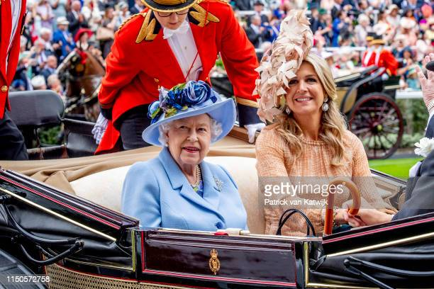 Queen Elizabeth II and Queen Maxima of The Netherlands on day one of Royal Ascot at Ascot Racecourse on June 18, 2019 in Ascot, England.