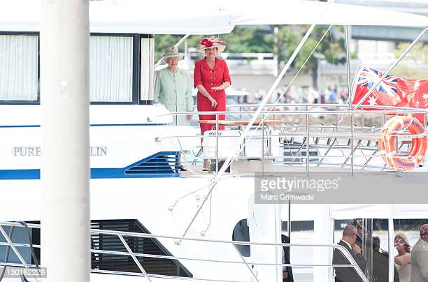 Queen Elizabeth II and Queensland Premier Anna Bligh prepare for a river cruise on October 24 2011 in Brisbane Australia The Queen and Duke of...