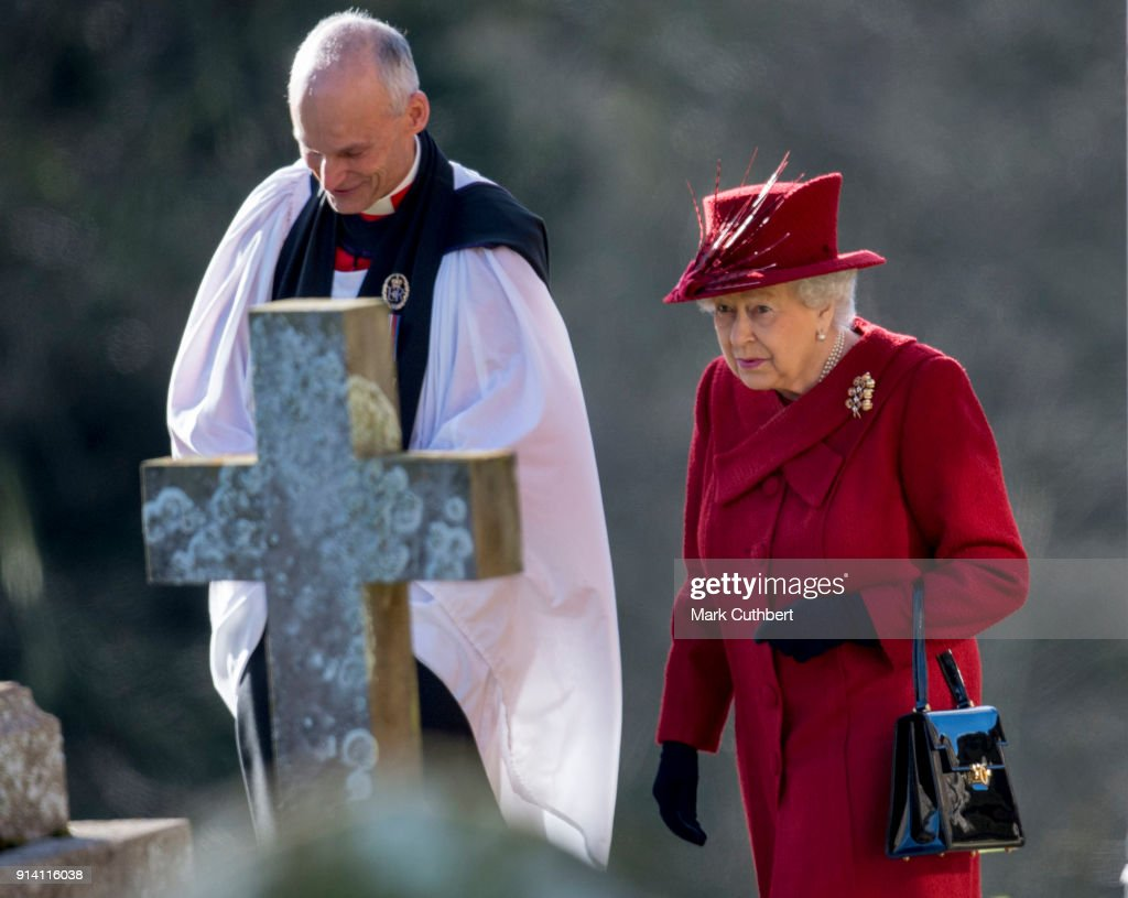 Queen Elizabeth II and Reverend Jonathan Riviere attend Sunday Service at St Peter and St Paul Church in West Newton on February 4, 2018 in King's Lynn, United Kingdom.