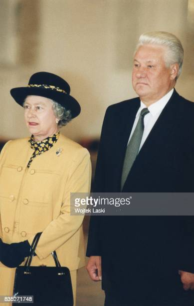 Queen Elizabeth II and Russian President Boris Yeltsin at the Kremlin in Moscow Russia on October 18 1994