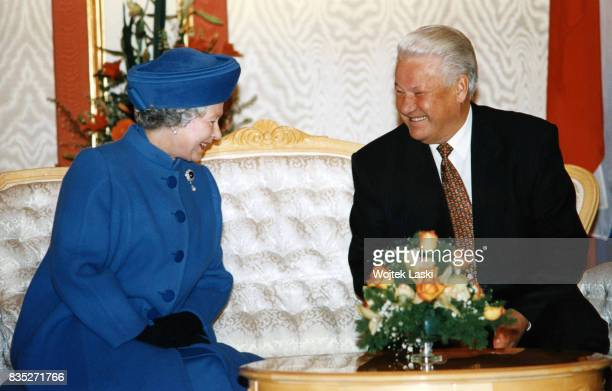 Queen Elizabeth II and Russian President Boris Yeltsin at the Kremlin in Moscow Russia on October 17 1994