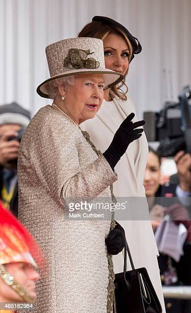 Queen Elizabeth II and Senora Rivera at a ceremonial welcome for the State Visit of The President of The United Mexican, Senor Enrique Pena Nieto and...