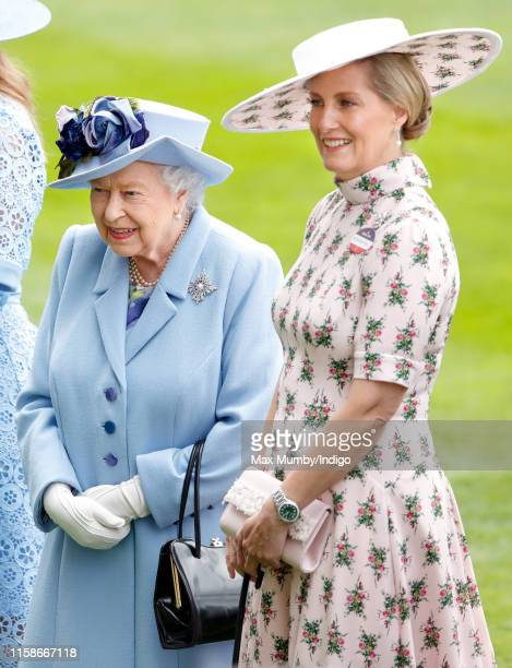 Queen Elizabeth II and Sophie, Countess of Wessex attend day one of Royal Ascot at Ascot Racecourse on June 18, 2019 in Ascot, England.