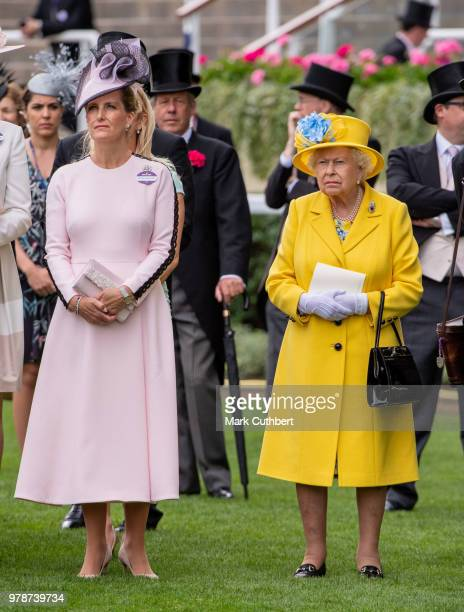 Queen Elizabeth II and Sophie, Countess of Wessex attend Royal Ascot Day 1 at Ascot Racecourse on June 19, 2018 in Ascot, United Kingdom.