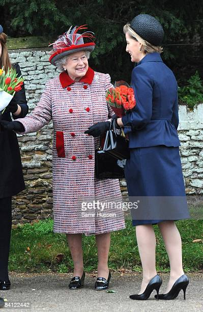 Queen Elizabeth II and Sophie Countess of Wessex attend the Christmas Day service at Sandringham Church on December 25 2008 in Sandringham England