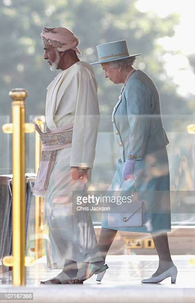 Queen Elizabeth II and Sultan Qaboos bin Said prepare to watch Royal Cavalry perform at an event in honour of Queen Elizabeth II and Prince Philip...