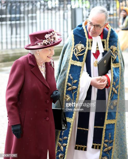 Queen Elizabeth II and the Dean of Westminster the Very Reverend John Hall attend the 2018 Commonwealth Day service at Westminster Abbey on March 12...