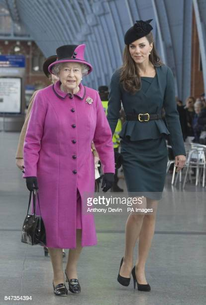 Queen Elizabeth II and The Duchess of Cambridge arrive at Kings Cross St Pancras Station London before boarding a train to visit the city of...