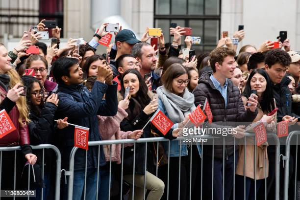 Queen Elizabeth II and The Duchess of Cambridge visit King's College London on March 19, 2019 in London, England to officially open Bush House, the...